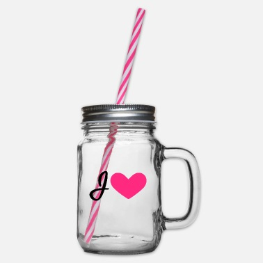 I Heart I heart - Glass jar with handle and screw cap
