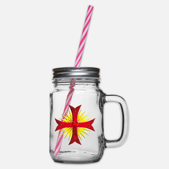 Think Mugs & Drinkware - Templar Knight Cross gems red sun - Glass jar with handle and screw cap clear