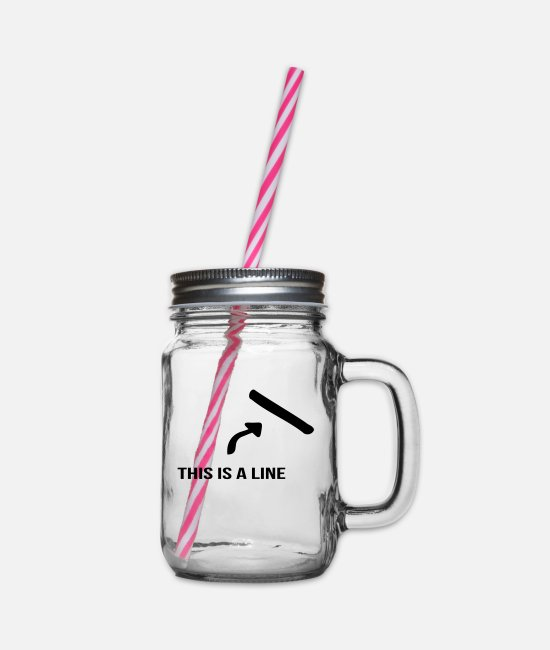 Arrow Mugs & Drinkware - That's a line - Glass jar with handle and screw cap clear