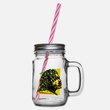 Festival Jamaica Reggae Rasta Rastafarian Music Reggaeton Jah - Glass jar with handle and screw cap
