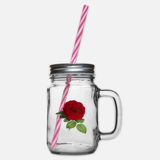 Red Mugs & Drinkware - rose - Glass jar with handle and screw cap clear