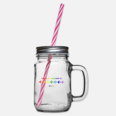 Facemask Rainbow Planes Corona - Glass jar with handle and screw cap
