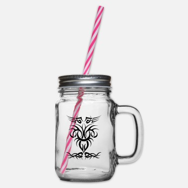 Tribal Tribal tribal tattoo - Glass jar with handle and screw cap