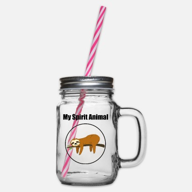 My Spirit Animal is a sloth - Glass jar with handle and screw cap