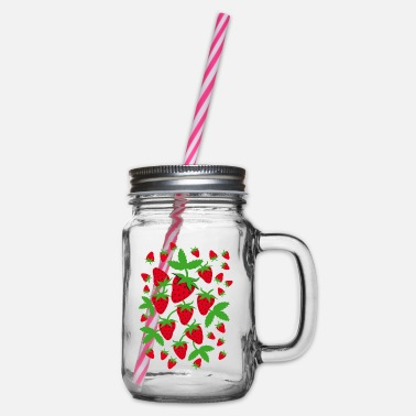 Strawberry Strawberries Strawberrys - Glass jar with handle and screw cap