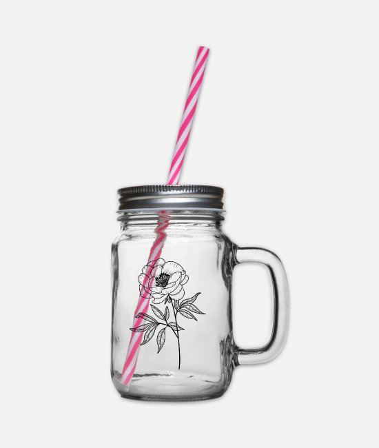 Cute Mugs & Drinkware - stem flower - Glass jar with handle and screw cap clear
