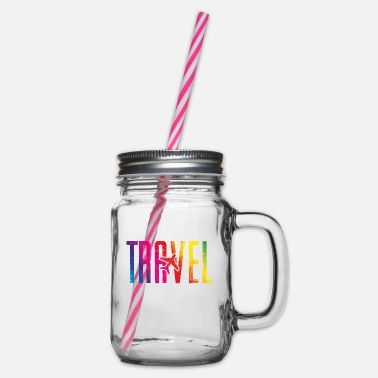 Travel Bug Travel airplane travel colorful - Glass jar with handle and screw cap