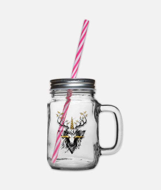 Stag Mugs & Drinkware - Deer Unicorn - Glass jar with handle and screw cap clear