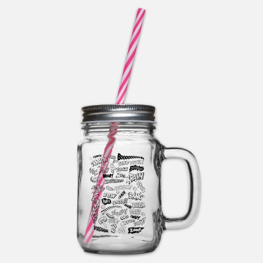 Book Comic Book Action Words (sw) - Glass jar with handle and screw cap