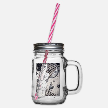 Collage Moon collage - Glass jar with handle and screw cap