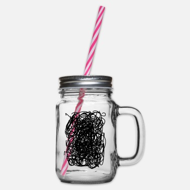Confused doodles - Glass jar with handle and screw cap