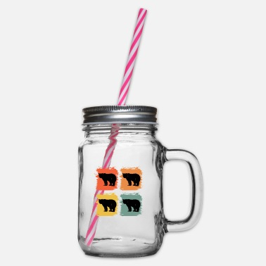 Nature Lovers Bear Animal Retro Pop Art Gift Idea - Glass jar with handle and screw cap