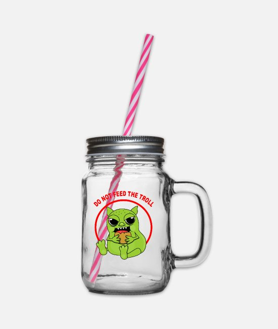Geek Mugs & Drinkware - Troll - Glass jar with handle and screw cap clear