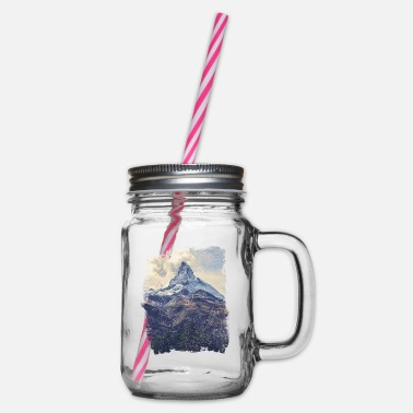 Nature Mountains & Diamonds - Glass jar with handle and screw cap