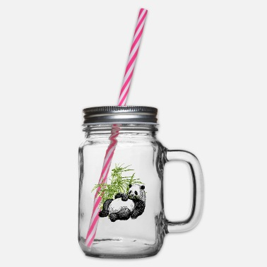 Animal Panda_TS - Glass jar with handle and screw cap