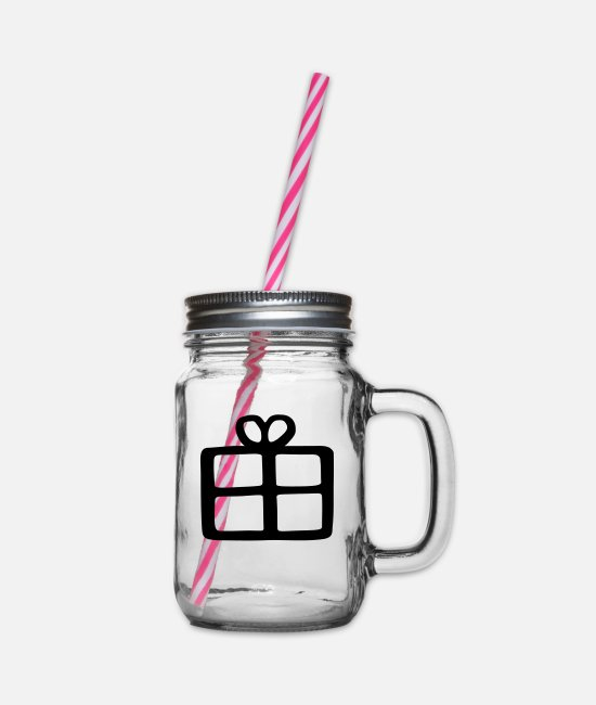 Make A Present Mugs & Drinkware - gift - Glass jar with handle and screw cap clear