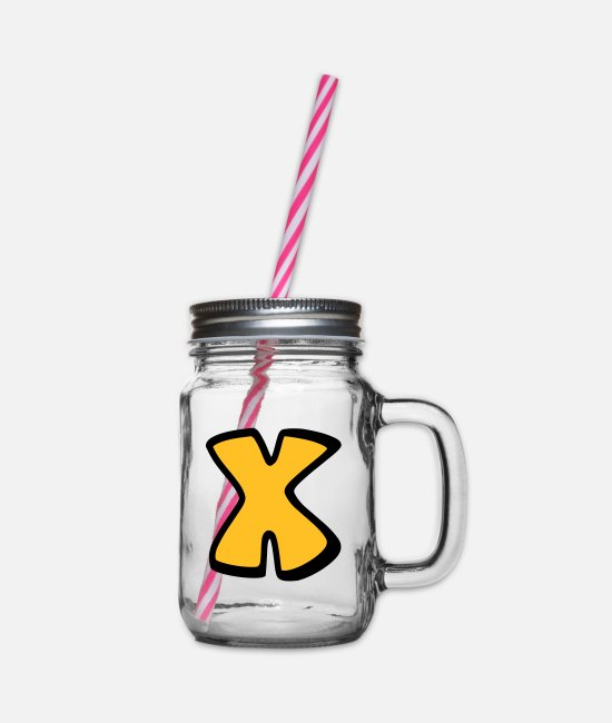 Alphabet Mugs & Drinkware - Alphabet X - Glass jar with handle and screw cap clear