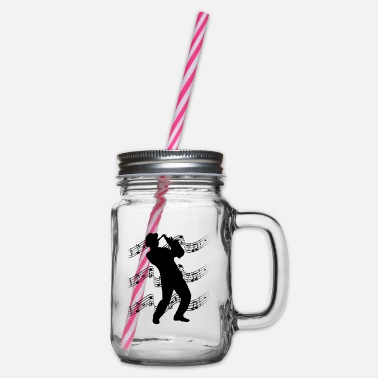 Jazz player - Glass jar with handle and screw cap