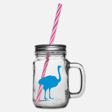Ostrich ostrich ostrich ostrich Silhouette straub - Glass jar with handle and screw cap