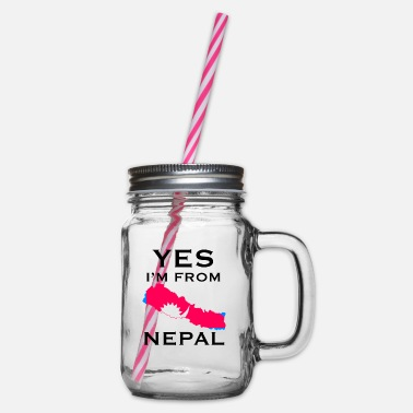 Nepal NEPAL - Glass jar with handle and screw cap