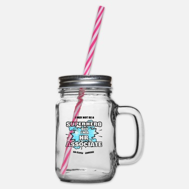Association HR Associate Gift Superhero HR Associate - Glass jar with handle and screw cap