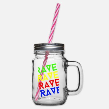 Rave rave rave rave - Glass jar with handle and screw cap