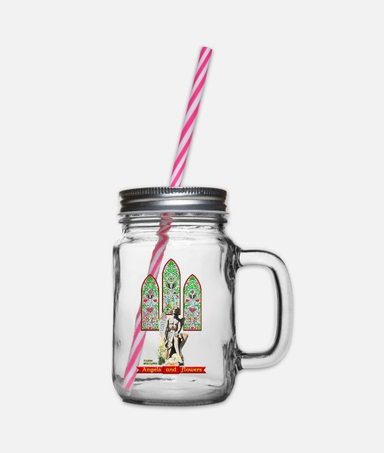 Heart Mugs & Drinkware - Angels and flowers: Angelica archangelica - FEDVAL - Glass jar with handle and screw cap clear