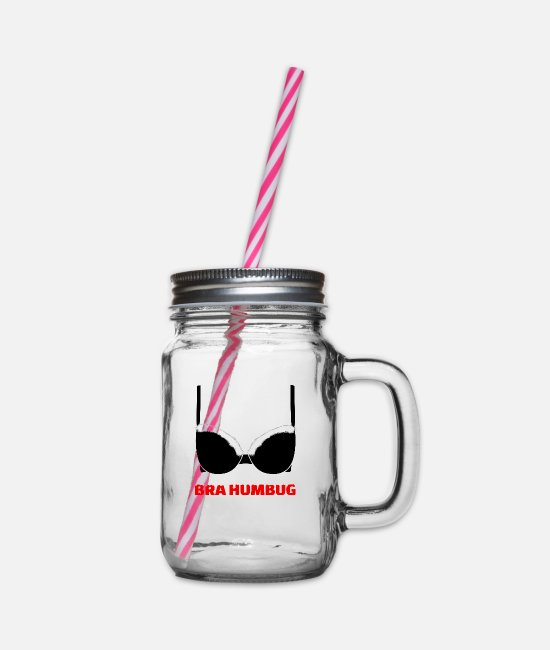 Bra Mugs & Drinkware - Bra Humbug (Bah Humbug) White - Glass jar with handle and screw cap clear
