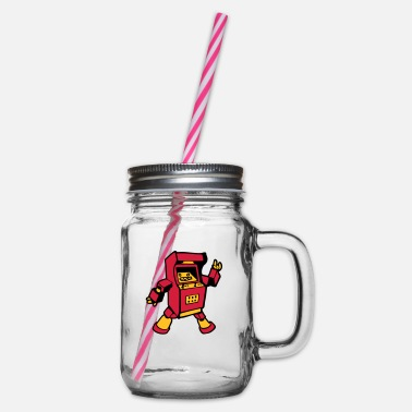 Video video game funny - Glass jar with handle and screw cap