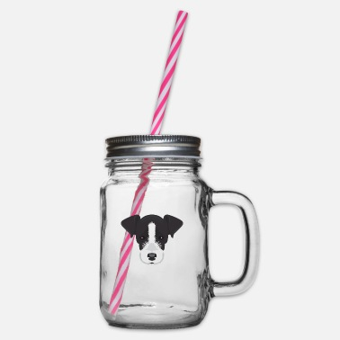 Black and White Jack Russell - Glass jar with handle and screw cap