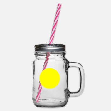 Yellow Circle yellow - Glass jar with handle and screw cap