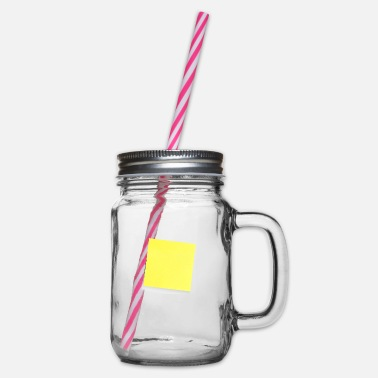 Note Clue yellow sticky note, sticky note, sticky note - Glass jar with handle and screw cap