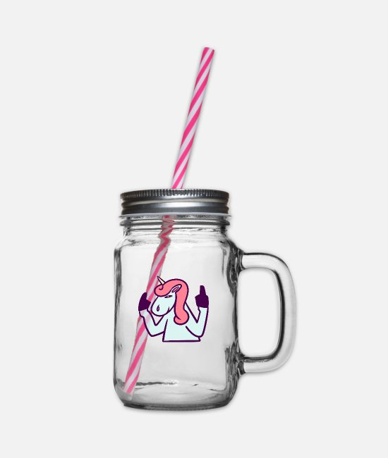 Unicorn Mugs & Drinkware - Fuck You fuck you shirt - Glass jar with handle and screw cap clear