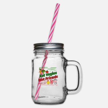 Eat Vegi Vegetarian Vegan - Eat Vegies Not Friends - Glass jar with handle and screw cap