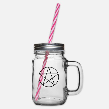 Pentacle Pentacle Symbol - Glass jar with handle and screw cap