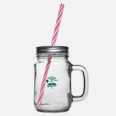 Everyday is a new Adventure - RA - Glass jar with handle and screw cap