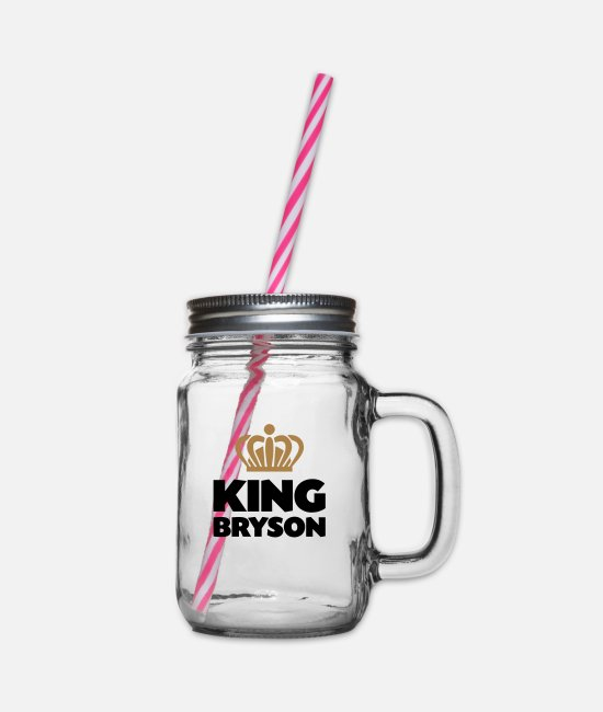 Crown Mugs & Drinkware - King bryson name thing crown - Glass jar with handle and screw cap clear