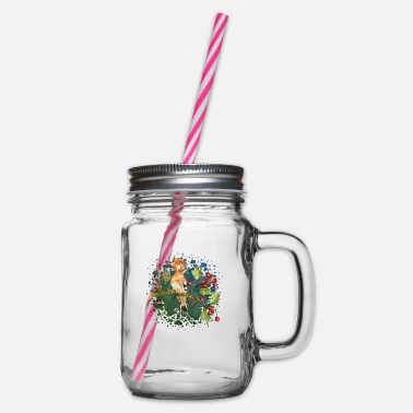Birds Colorful bird - Glass jar with handle and screw cap
