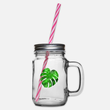Monstera leaf - Glass jar with handle and screw cap