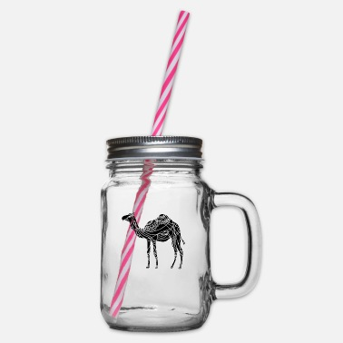 Africa Camel - Glass jar with handle and screw cap