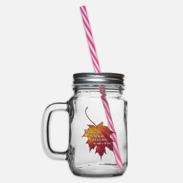Leaf Autumn leaf. English version - Glass jar with handle and screw cap
