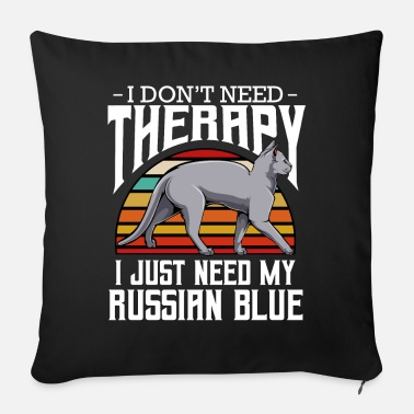 Russian blue cat i don't need therapy retro - Sofa pillow with filling 45cm x 45cm