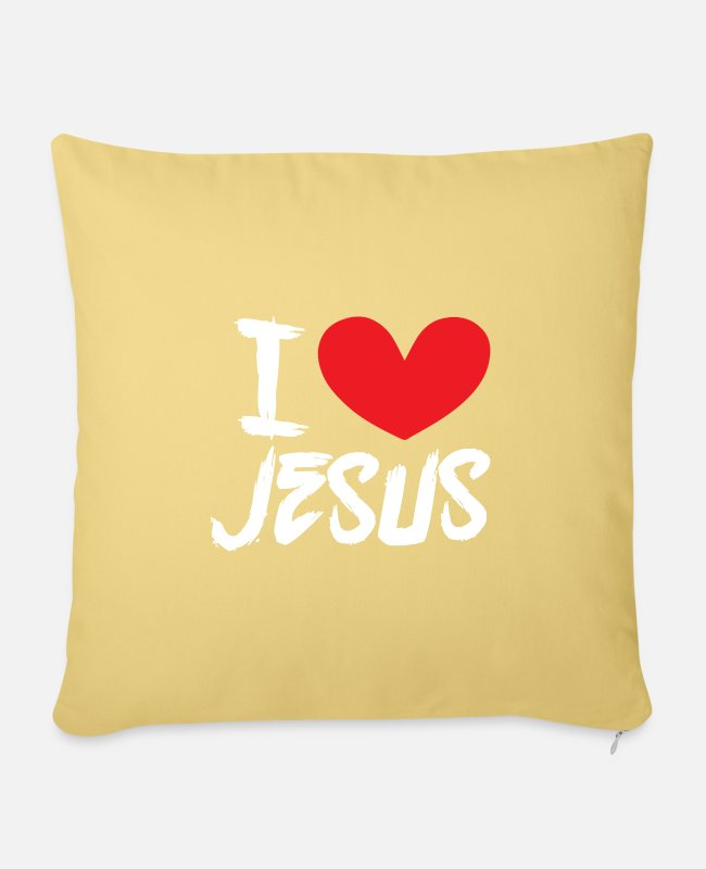 I Love Pillow Cases - I love Jesus | I love jesus! - Sofa pillow with filling 45cm x 45cm washed yellow