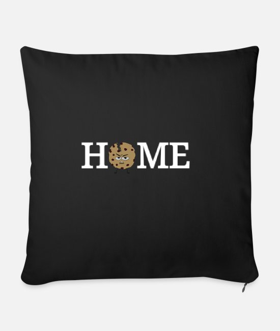 Cookie Pillow Cases - Angry cookie at home biscuit home - Sofa pillow with filling 45cm x 45cm black