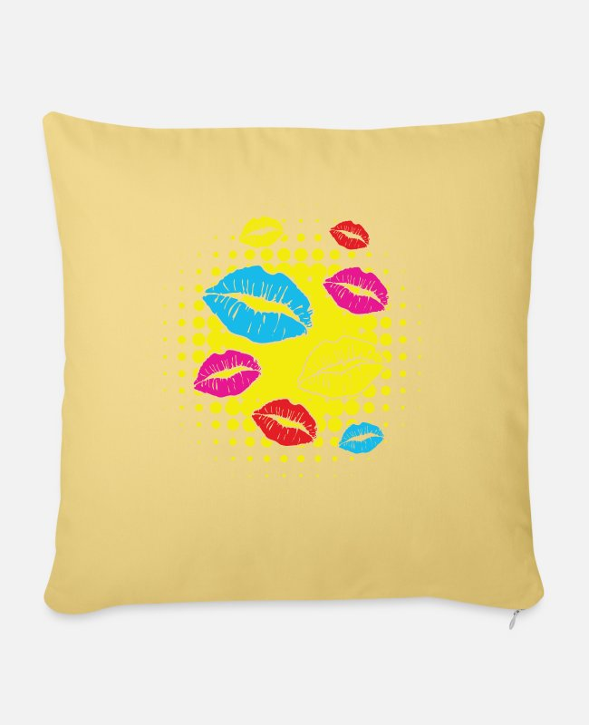 Graphic Art Pillow Cases - Pop Art Shirt Lips Graphic Art Gift Tee - Sofa pillow with filling 45cm x 45cm washed yellow