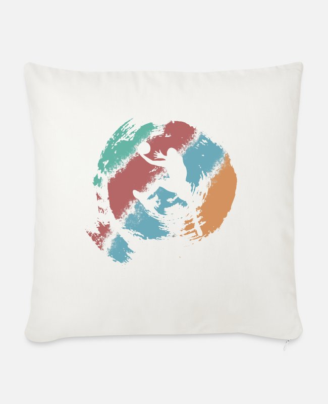 Ball Pillow Cases - Retro basketball slam dunk rebound gift - Sofa pillow with filling 45cm x 45cm natural white