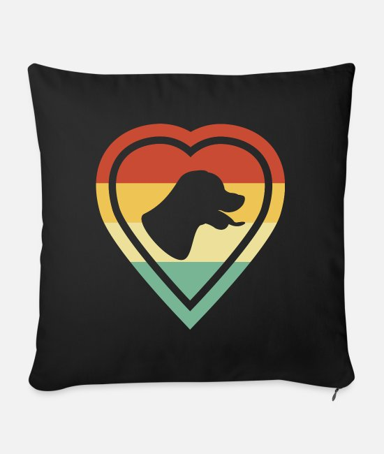 Heart Pillow Cases - Retro Heart Retro Vintage Rottweiler Dog Love - Sofa pillow with filling 45cm x 45cm black