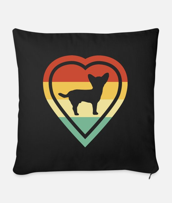 Heart Pillow Cases - Retro heart retro vintage chihuahua dog love - Sofa pillow with filling 45cm x 45cm black