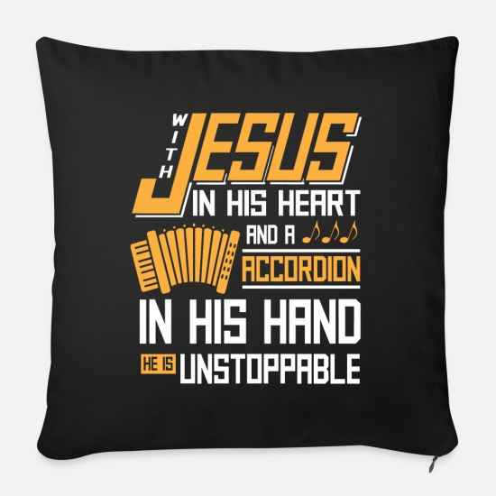 Religious Pillow Cases - Accordion religious musician gift - Sofa pillow with filling 45cm x 45cm black