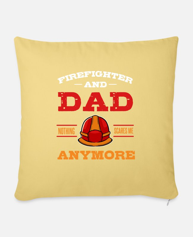 Grandpa Pillow Cases - Firefighter Dad Firemen Helmet Fire Captain Flames - Sofa pillow with filling 45cm x 45cm washed yellow
